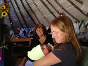 Waylon, 3 days old, with Mama and Nana