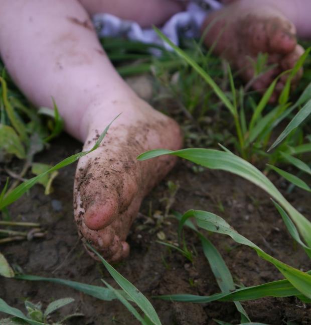 Baby feet in the garden
