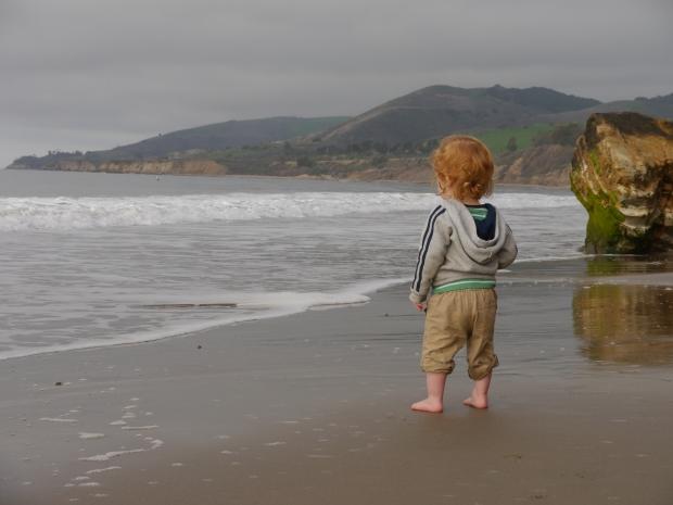 Waylon meets the waves at El Capitan State Beach