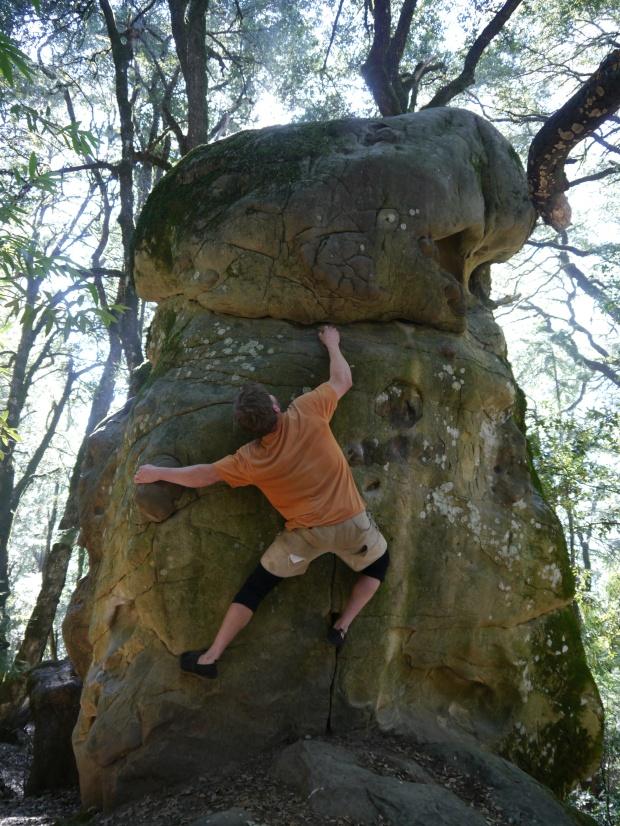 bouldering at Castle Rock SP